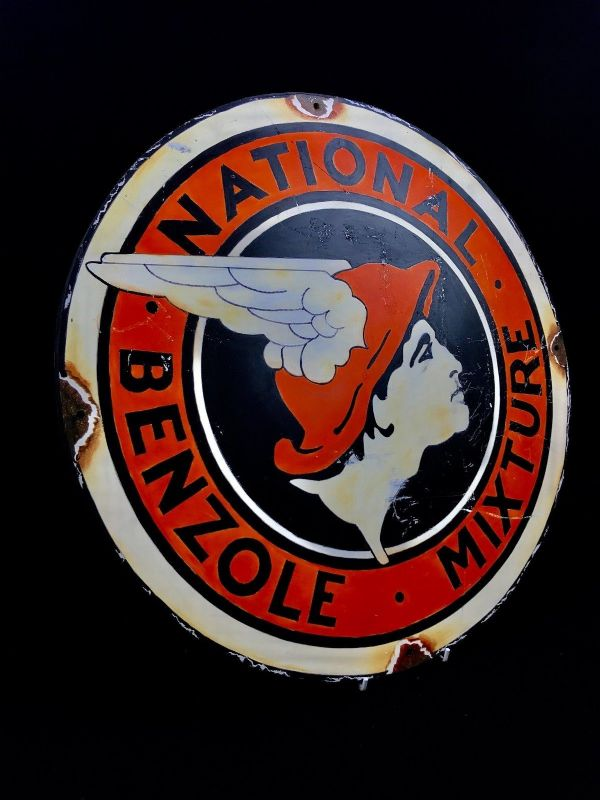 National Benzole Mixture Large Advertising Sign Oil On Board Car Petroleum